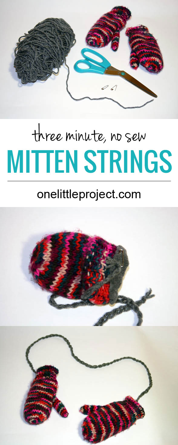 How to make quick, 3 minute, no sew, mitten strings