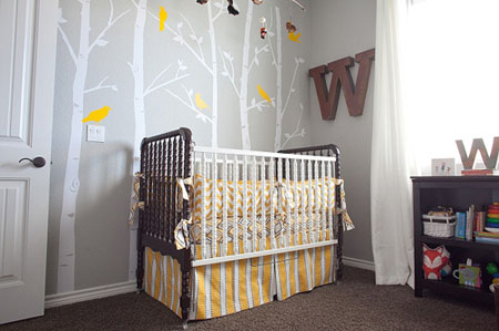 13 From On To Baby Gray And Yellow Woodland Themed Nursery