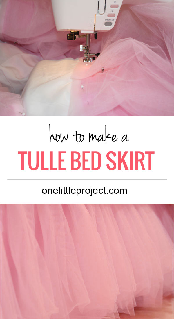How to make a tulle bedskirt tutorial.  Step by step instructions for a DIY tulle bed skirt.