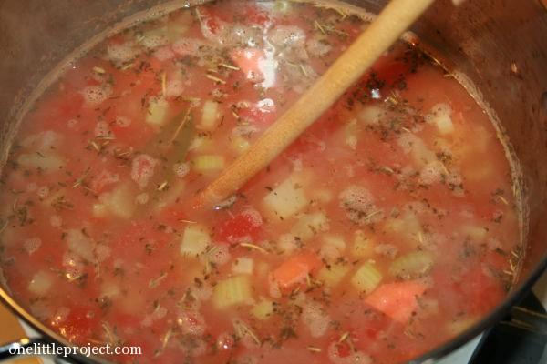 lentil soup in the pot
