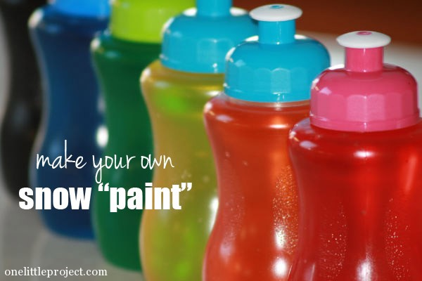 Make your own snow paint with water and food colouring