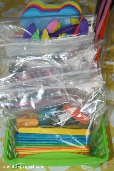 bin of random craft supplies