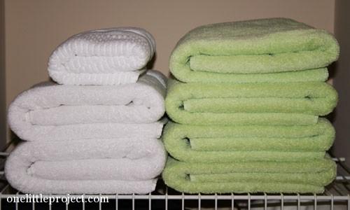 towels folded neatly on a shelf