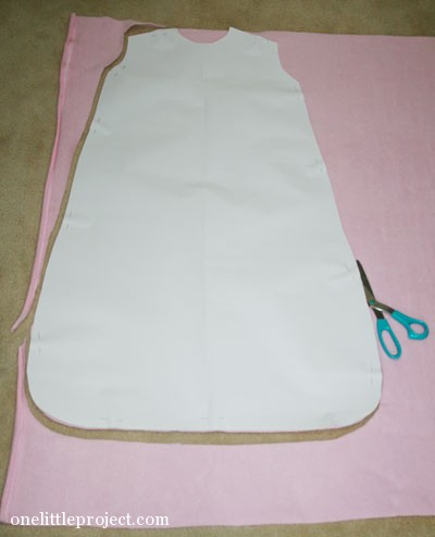 cutting out pattern for homemade sleep sack