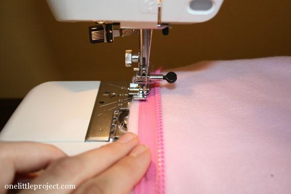 sewing zipper onto homemade sleep sack