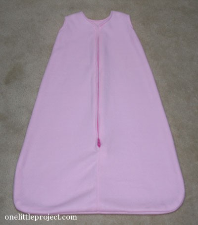 homemade pink fleece sleep sack