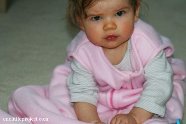 baby wearng homemade sleep sack