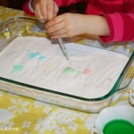 Fizzy fun with baking soda and dyed vinegar!