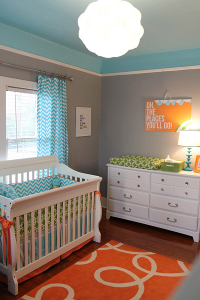 Modern Nursery idea gray, orange and blue