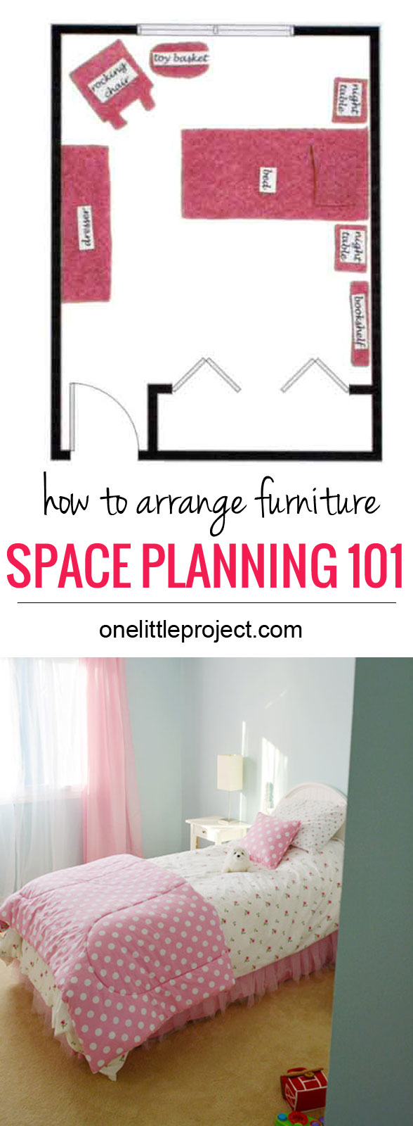 How to arrange furniture in a toddler's bedroom.  Tips and tricks to get the best layout for the space.