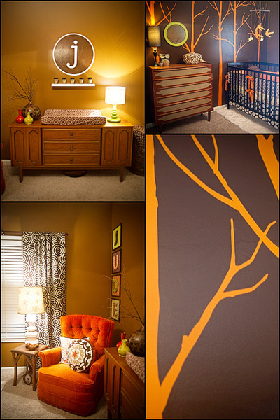 Teak furniture in a vintage nursery