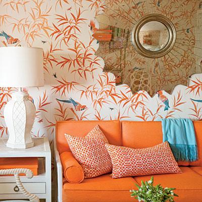 orange, blue and white vintage living room