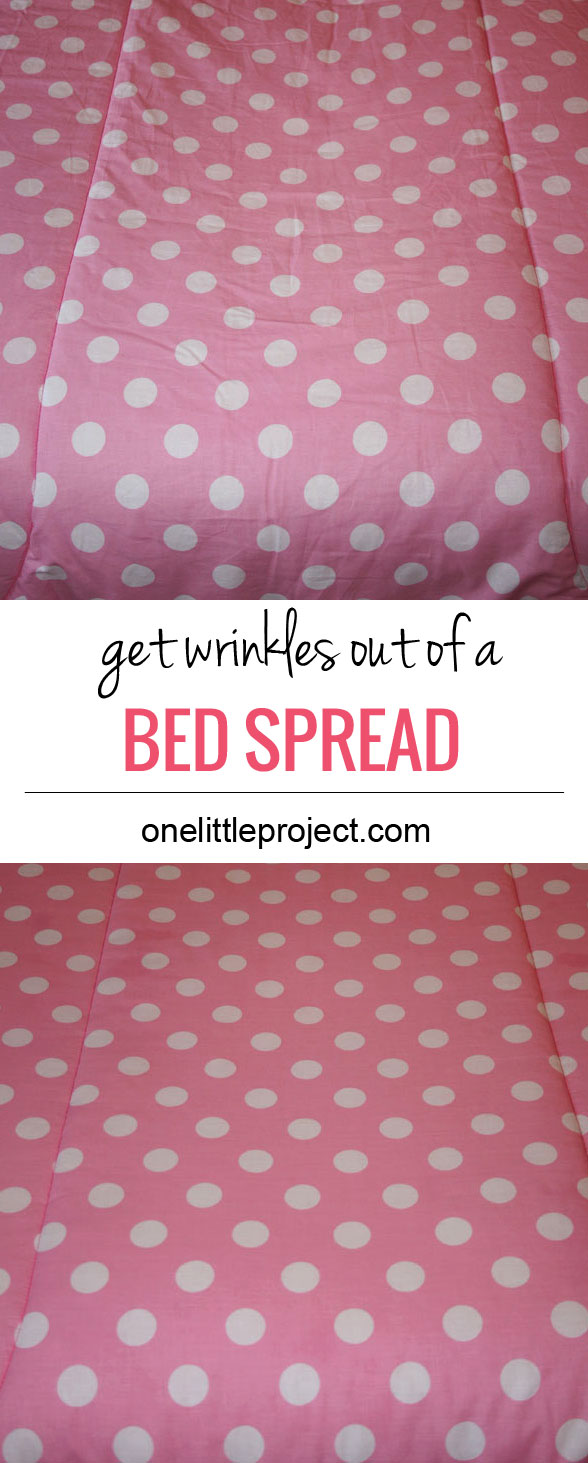 How to really get wrinkles out of a comforter or bedspread and testing all the usual methods.