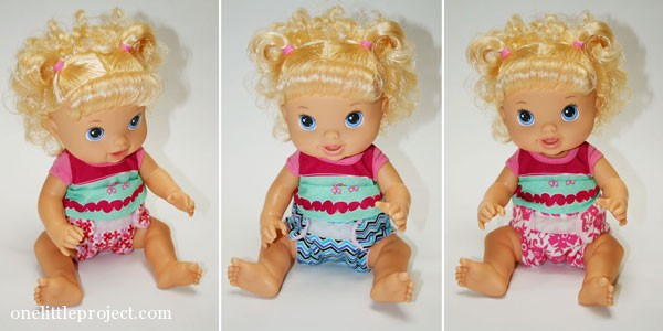 Baby Alive in 3 different cloth doll diapers