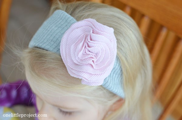 Easy fabric flower headband tutorial - made from re-purposed clothing | onelittleproject.com