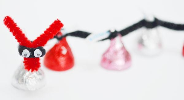 valentine's day hershey's kiss caterpillar