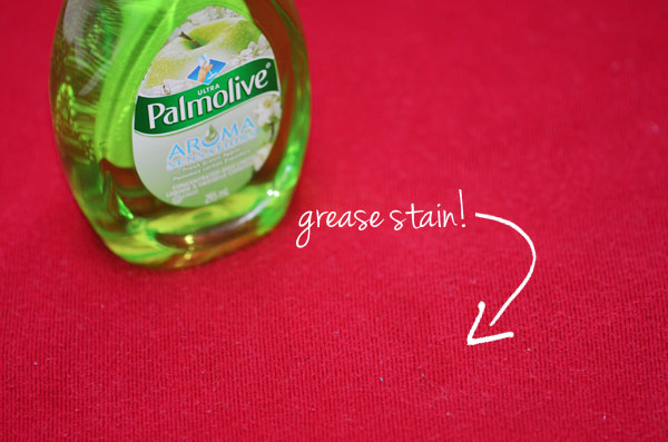 palmolive dish soap for grease stain on sweater