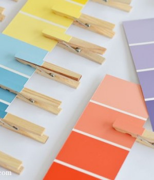 Paint swatch clothes pin matching game | onelittleproject.com