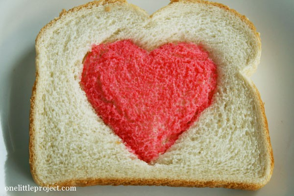 red heart on bread