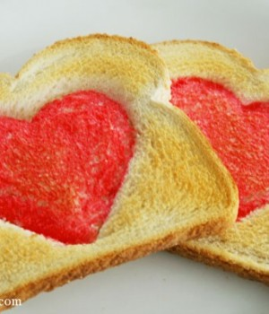 Valentine's Day heart toast