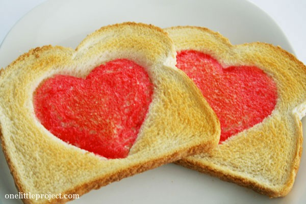 red hearts on toast for Valentine's Day