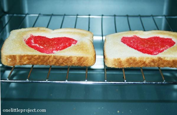 heart toast toasting in toaster oven