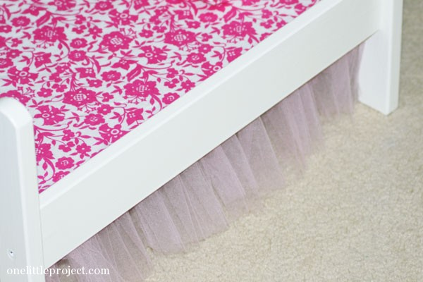 First Tulle Bedskirt for an IKEA Doll's Bed