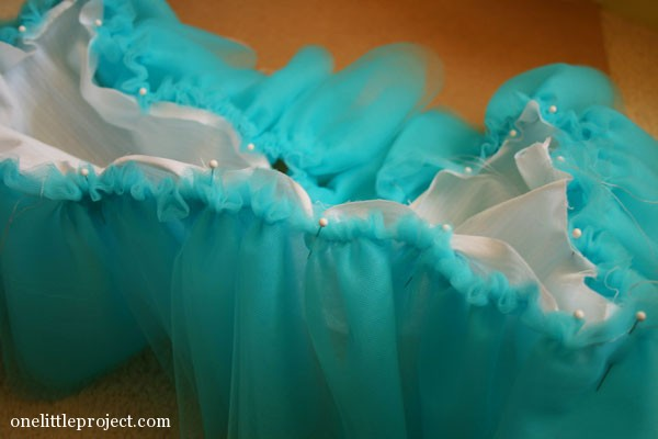 how to make IKEA doll's bed tulle bedskirt