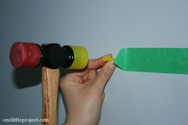 rubber mallet to get drywall plug in