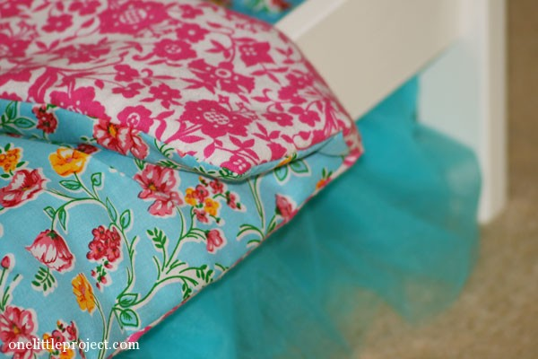 How to make a reversible blanket for an IKEA doll bed | onelittleproject.com