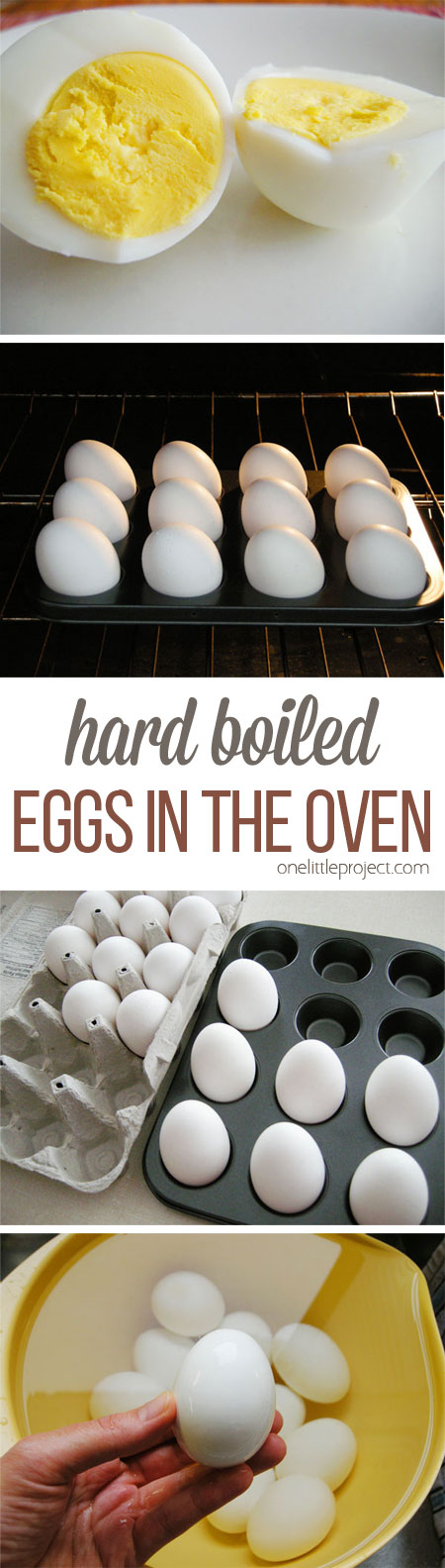 You can make BAKED hard boiled eggs in the oven in a muffin tin?! The eggs turn out perfectly and they're less likely to crack! Delicious and incredibly easy, especially for Easter eggs!