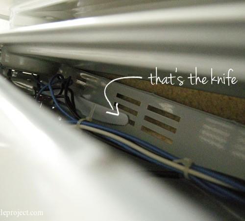 knife stuck in a Pelonis space heater
