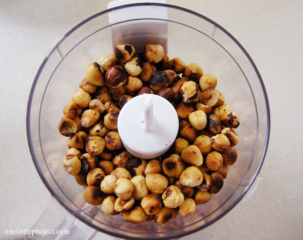 hazelnuts in food processor