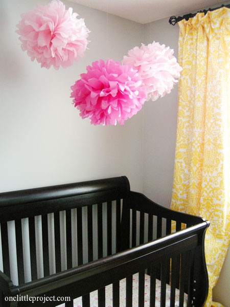 pink tissue paper poofs