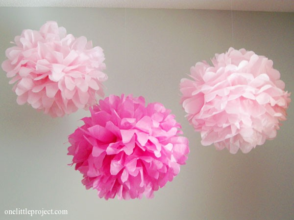How to make tissue paper pom poms an easy step by step tutorial how to make tissue paper pom poms onelittleproject mightylinksfo