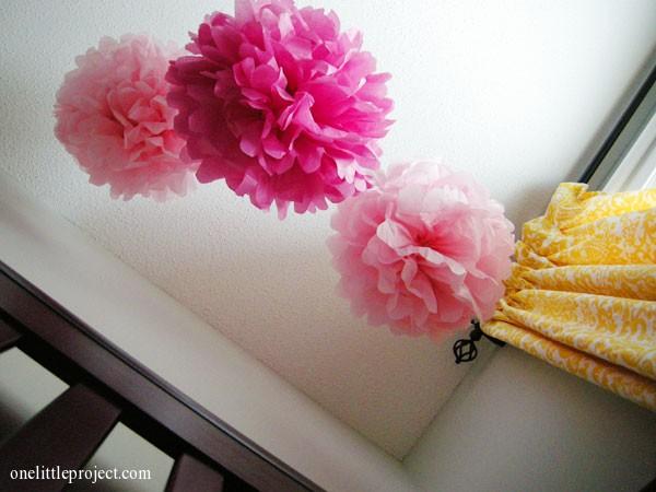 baby's view of tissue paper pom poms