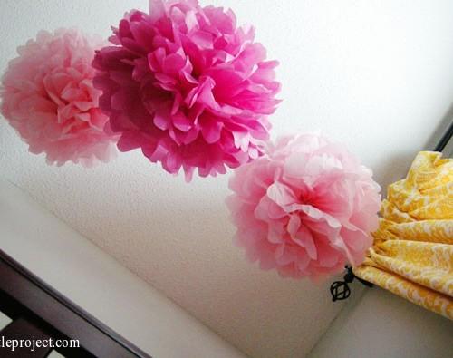 tissue paper pom poms for a nursery?