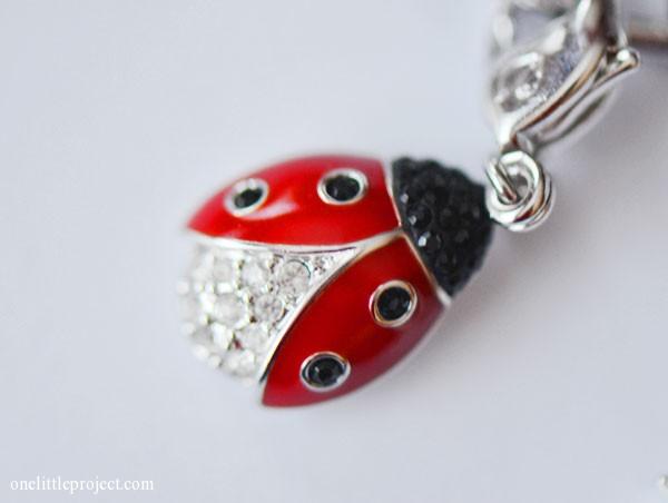 Swarovski ladybug charm