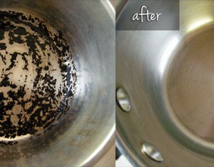 Easiest way to clean burnt pots