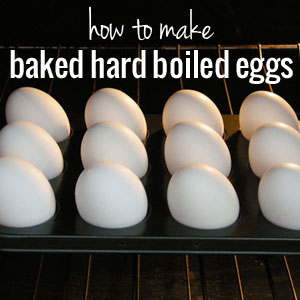 Baked hard boiled eggs in the oven! | onelittleproject.com