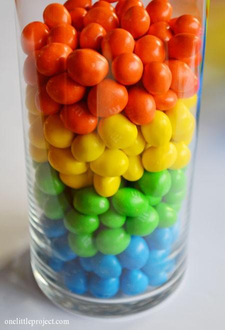 Rainbow M&M's vase