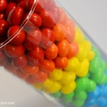 Rainbow M&M's vase – Sneak peak at our rainbow first birthday party