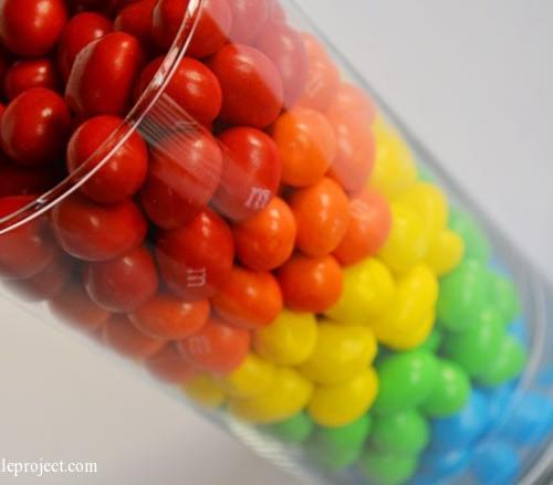 Rainbow birthday party ideas - M&M's vase   onelittleproject.com