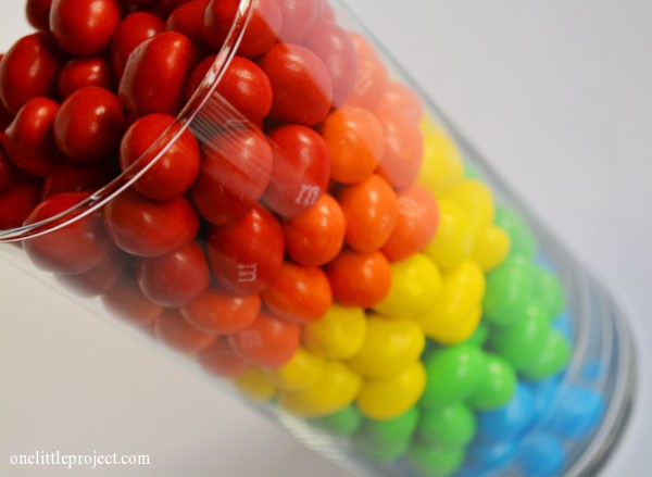 Rainbow birthday party ideas - M&M's vase | onelittleproject.com