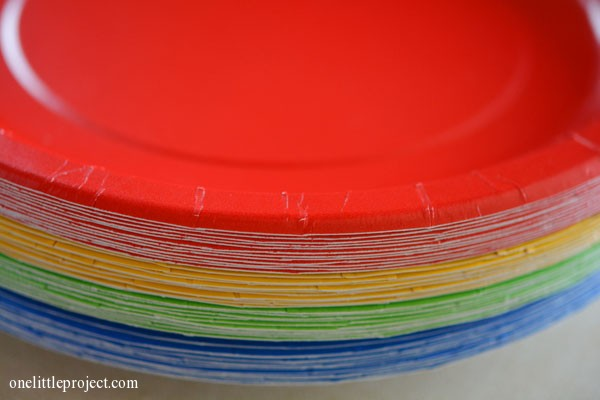 Rainbow party ideas: colourful paper plates