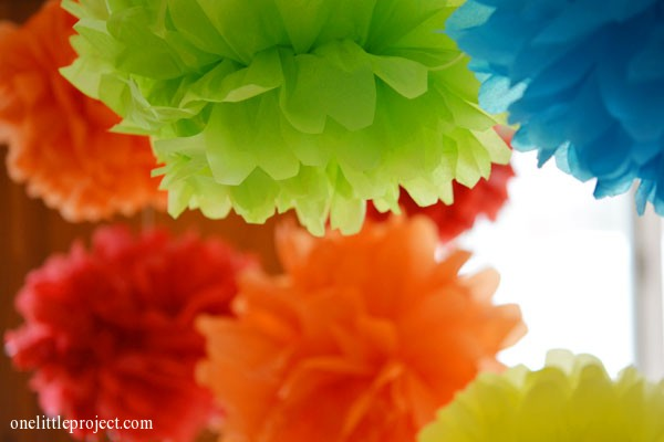 Rainbow party ideas: tissue paper pom poms