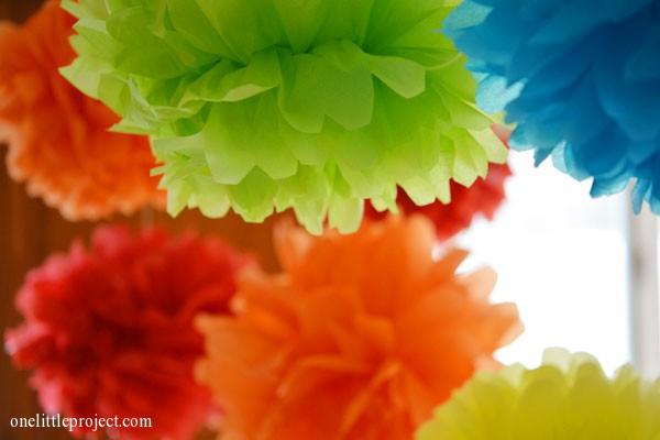 Rainbow party ideas: tissue paper pom poms