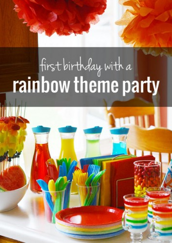 Rainbow theme first birthday party | onelittleproject.com