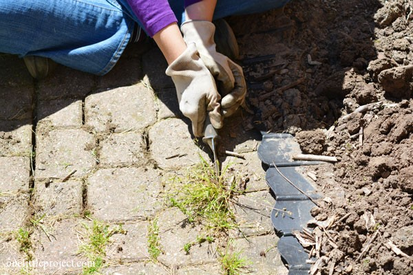 Use a gardening knife to pull up weeds between stones