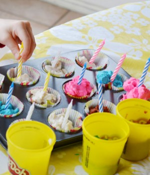 Play dough birthday cupcakes activity